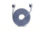 Cabo RCA Injetado Azul Prata Transparente 4mm 5m Techone