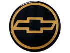 Emblema de Roda Chevrolet Resinado 51mm Preto c/ Dourado