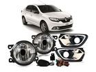 Farol Milha Neblina para Renault Logan 2015 Botão Alternativo + Moldura Cromada