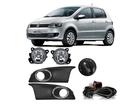 Farol Milha Neblina para Volkswagen Fox 2014 Botão Modelo Original Redondo Preto + Moldura Cromada
