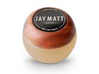 Manopla Bola de Câmbio Redonda Couro Bege Aro Madeira Jay Matt Universal 53mm