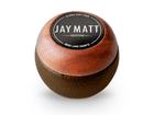 Manopla Bola de Câmbio Redonda Couro Marrom Aro Madeira Jay Matt Universal 53mm