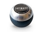 Manopla Bola de Câmbio Redonda Couro Preto Aro Escovado Jay Matt Universal 53mm