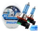 Lâmpada Crystal Vision Ultra H11 Super Branca Philips 4300K + Pingo