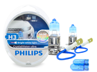 Lâmpada Crystal Vision Ultra H3 Super Branca Philips 4300K + Pingo