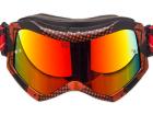 Óculos Motocross Texx Raider Pro Gráfico Vermelho e Preto Metálico com Lente Iridium