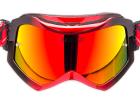 Óculos Motocross Texx Raider Pro Preto e Vermelho Metálico com Lente Iridium