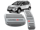 Pedaleira Livina X-Gear Automático em Aço Inox - Listrado Preto