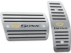 Pedaleira para Chevrolet Sonic Automático em Aço Inox - Listrado Preto