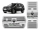 Pedaleira Renault Duster TechRoad Automatico em Aço Inox - Listrado Preto