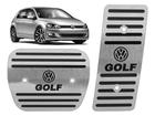 Pedaleira Volkswagen Golf 13/.. Automático em Aço Inox - Listrado Preto