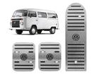 Pedaleira Volkswagen Kombi Manual Prata em Aço Inox - Listrado Preto