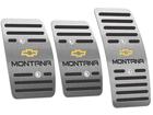 Pedaleira Chevrolet Montana Manual em Aço Inox - Listrado Preto
