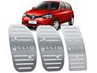 Pedaleira Renault Clio 2013/2016 Manual em Aço Inox - Listrado Prata