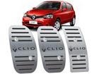 Pedaleira Renault Clio 2013/2016 Manual em Aço Inox - Listrado Preto