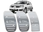 Pedaleira Renault Clio 2000/2012 Manual em Aço Inox - Listrado Prata