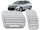 Pedaleira Toyota Yaris Automático Aço Inox - Listrado Prata