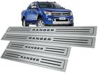 Soleira Ford Ranger CD 2013/2016 em Aço Inox - Baixo Relevo Preto