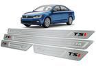 Soleira Volkswagen Jetta TSI 2011/.. em Aço Inox - Baixo Relevo Prata