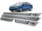 Soleira Volkswagen Jetta TSI 2011/.. em Aço Inox - Baixo Relevo Preto