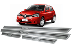 Soleira Renault Clio 4 Portas 2013/2016 em Aço Inox - Baixo Relevo Preto